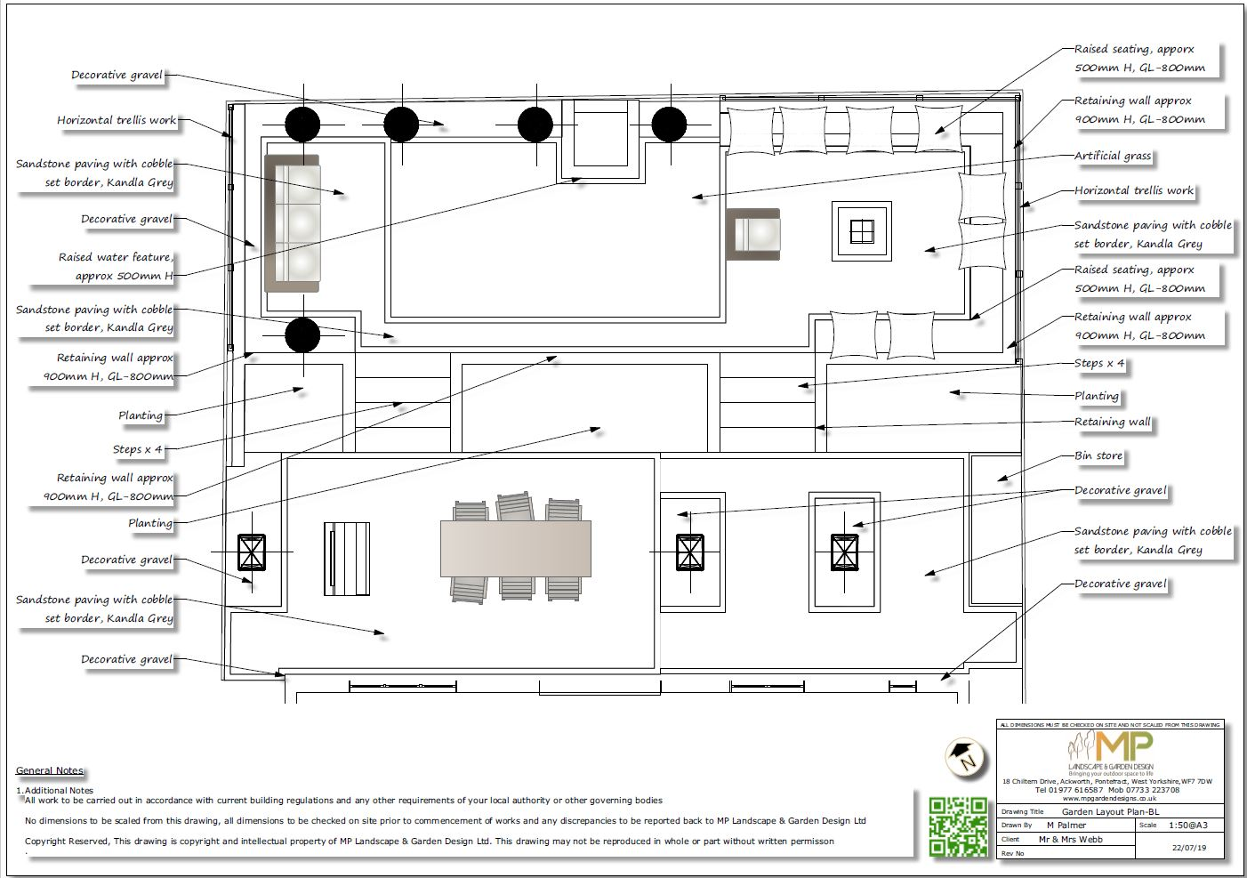 2, Black & white garden layout plan for a new build property in Pontefract.