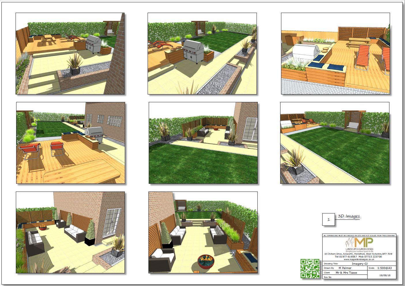 Garden design layout plan 3D images for a rear garden in Wakefield