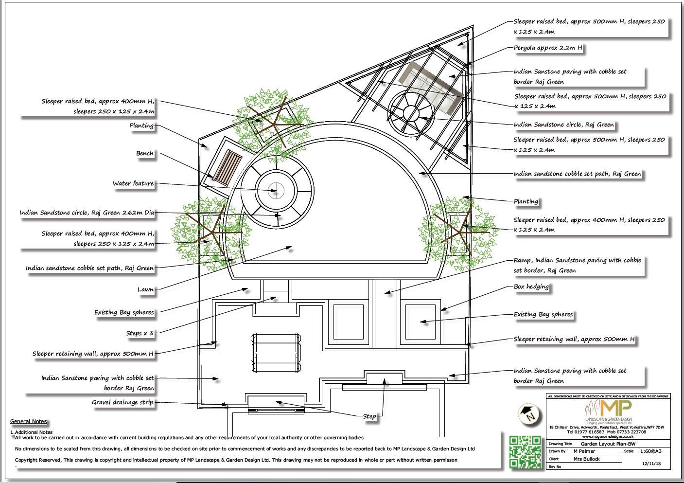 Garden design layout plan black and white for a rear garden in Mexborough.
