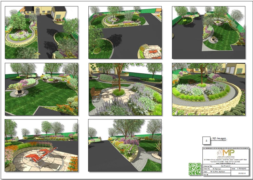 3D image of the front garden of a landscape design in Wakefield.
