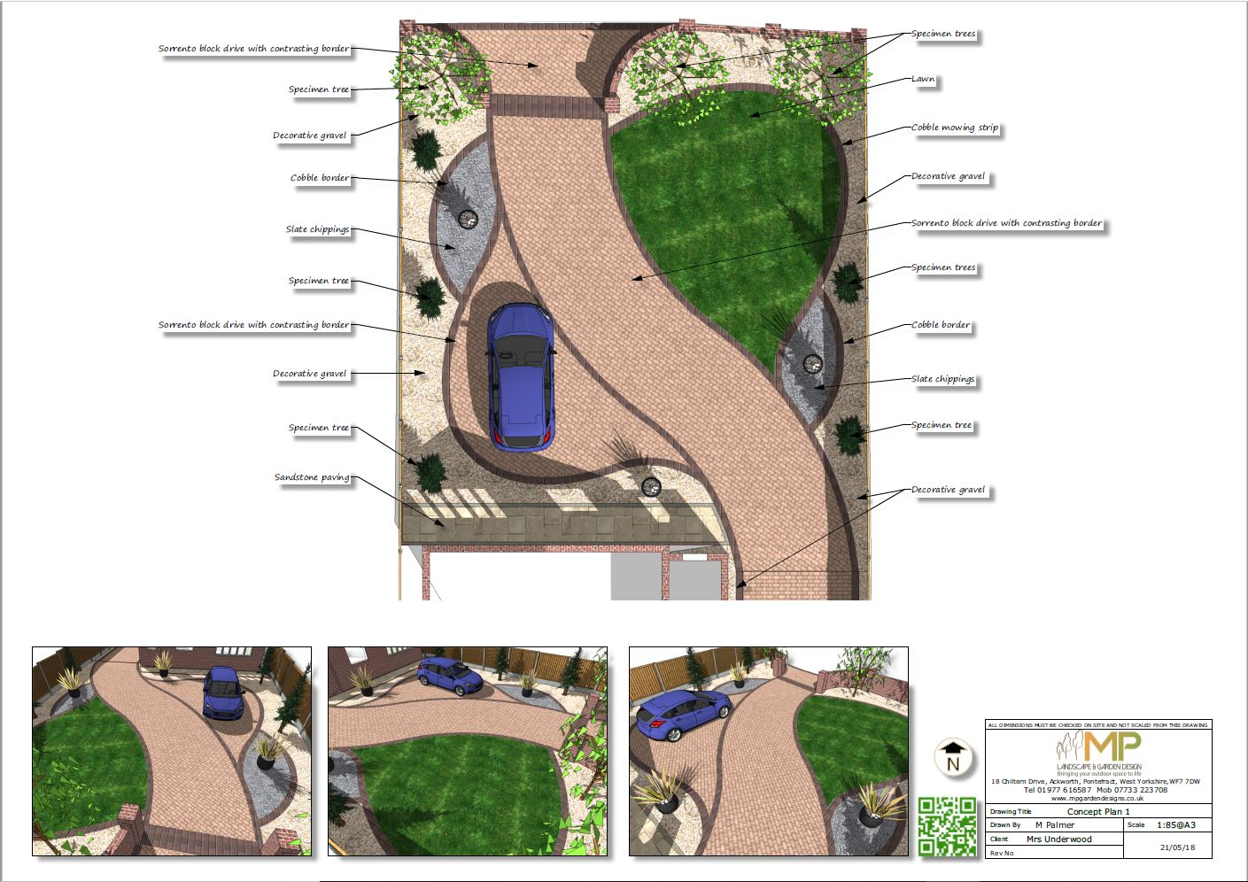 Concept plan-1 for a front garden and drive in Castleford
