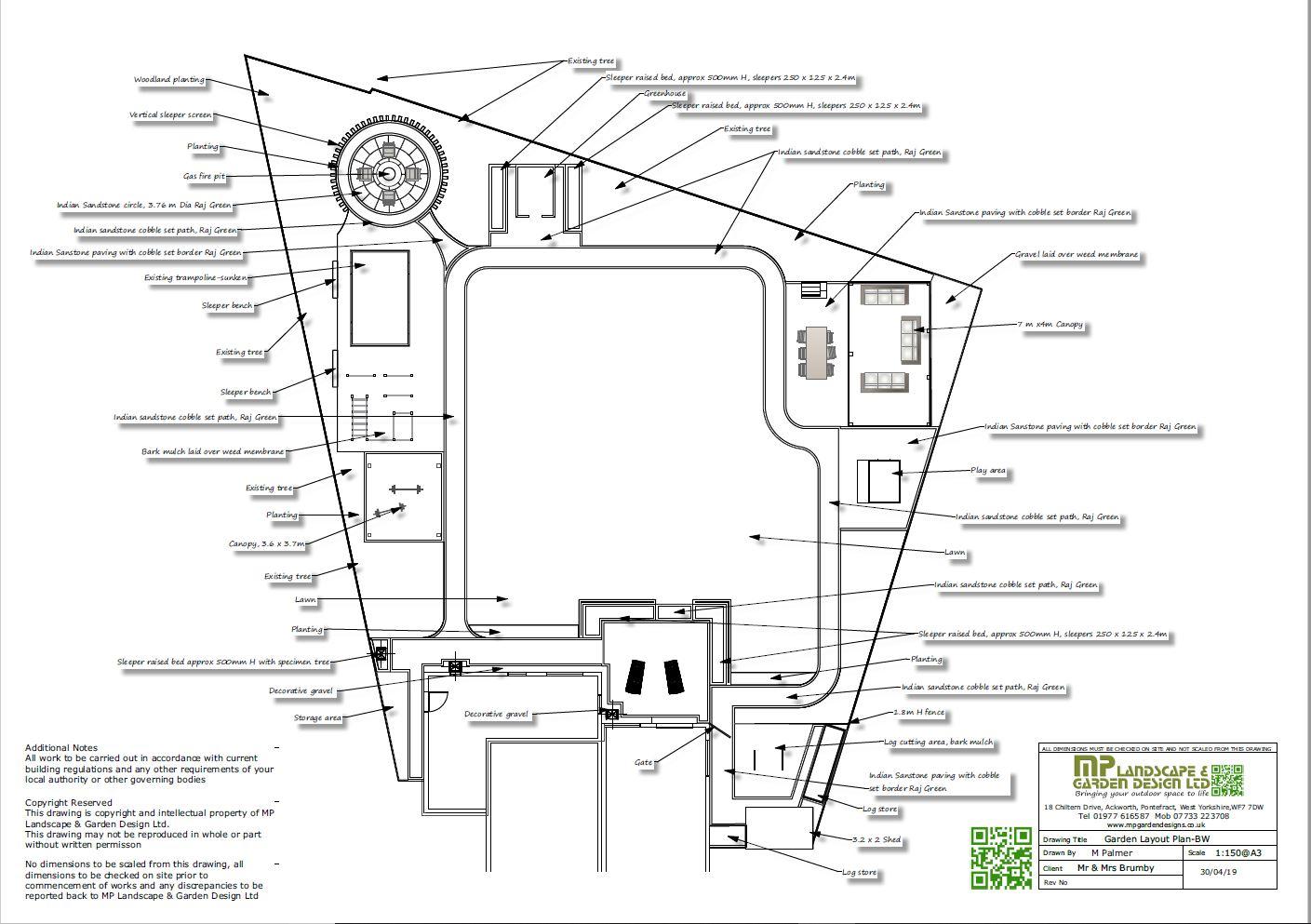 1,Garden layout plans-black and white for a rear garden in Darrington