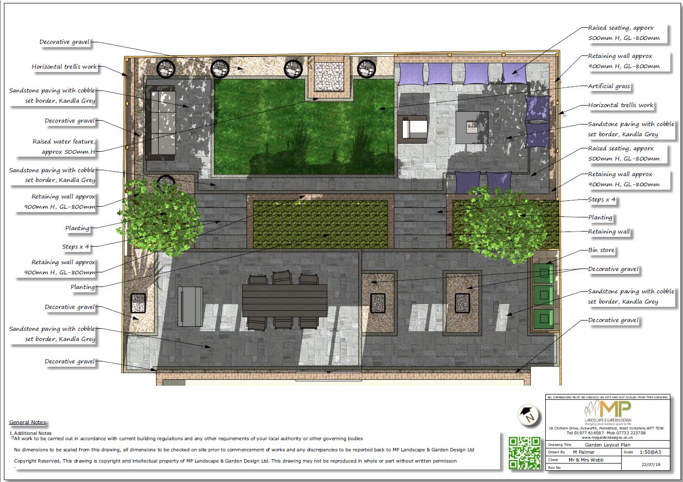 1, Colour garden layout plan for a new build property in Pontefract.