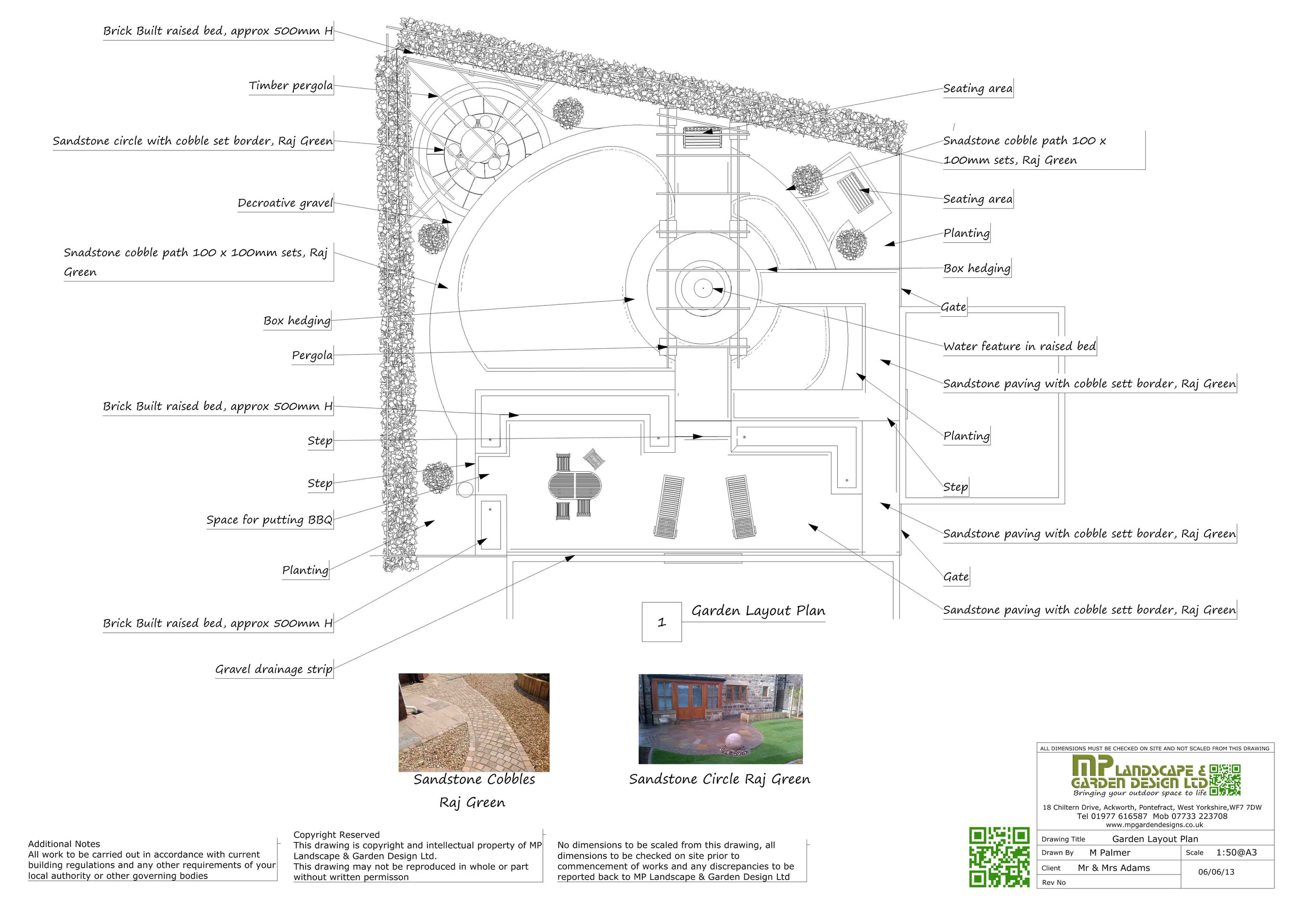 Garden Design layout black on white plans for a garden in Wakefield