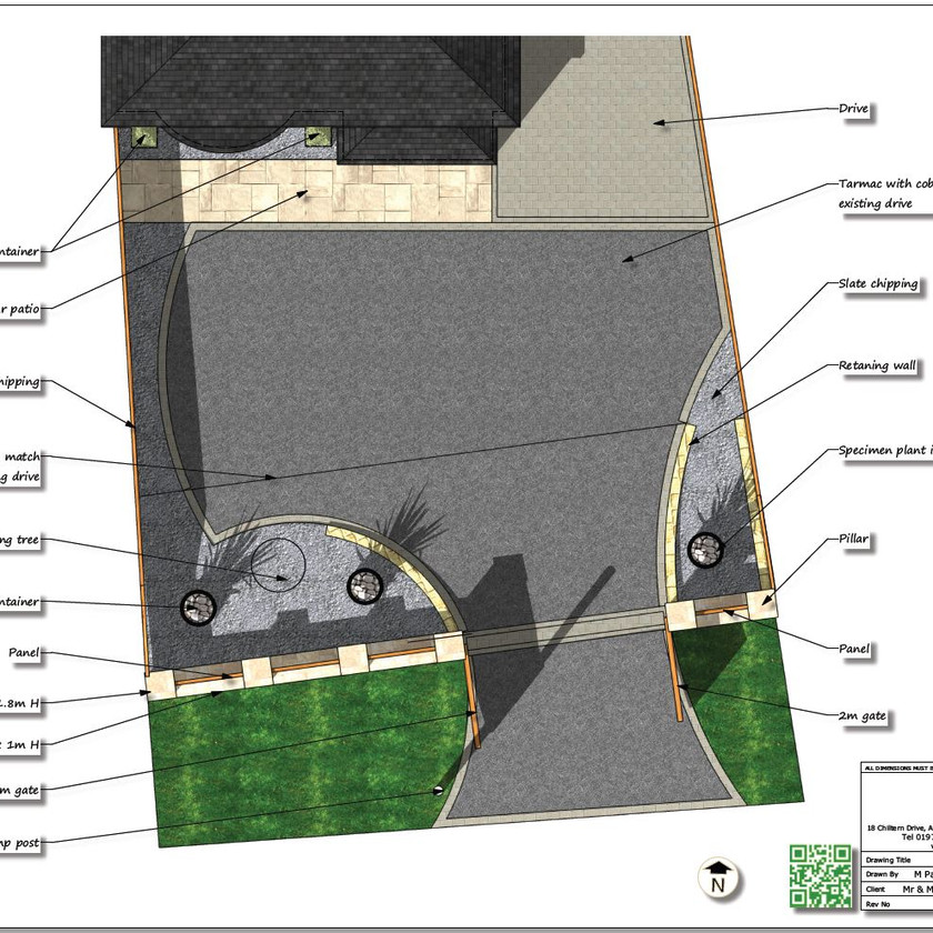 Concept plans for a drive and front garden for a property in Ackworth, Pontefract, West Yorkshire.