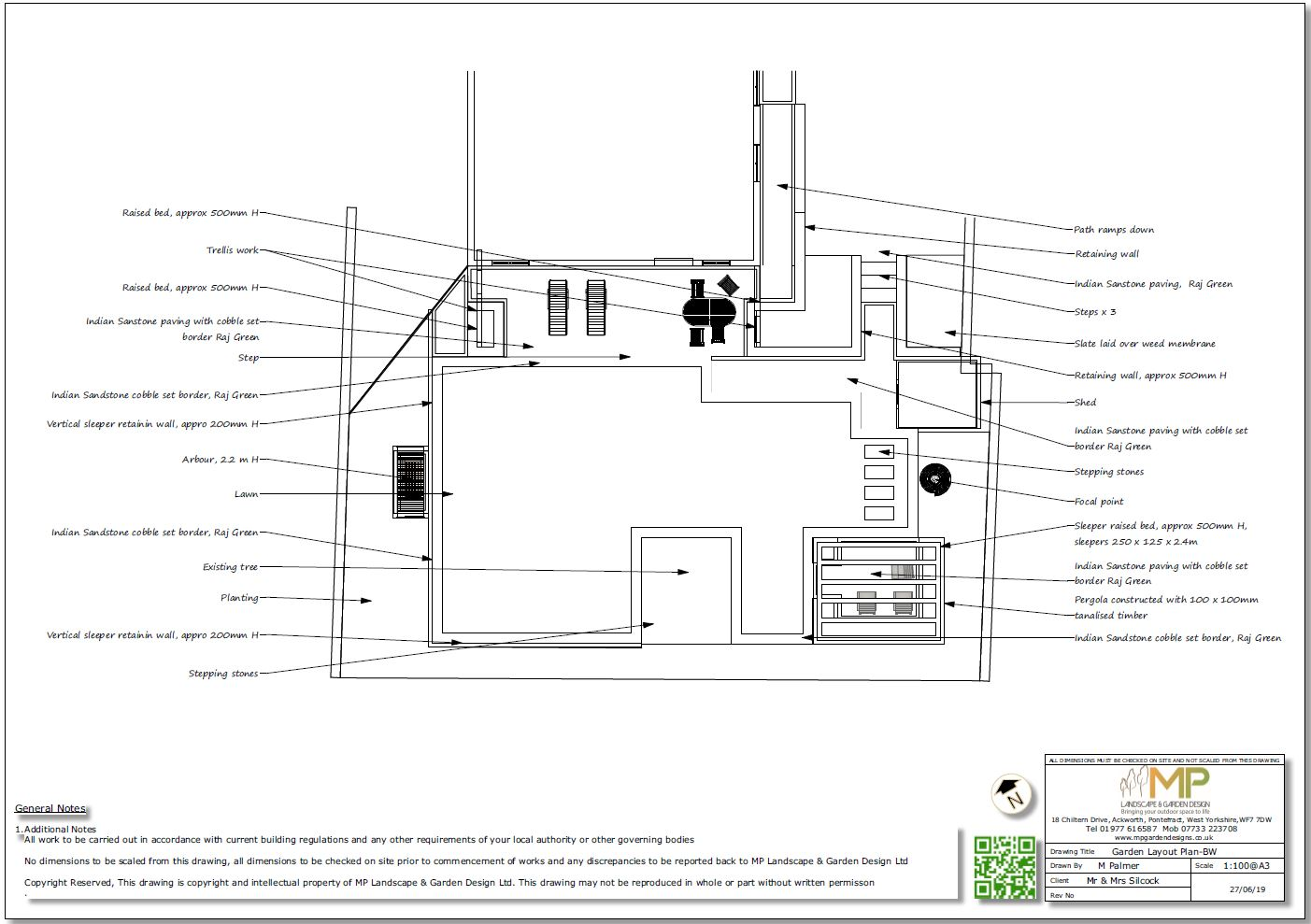 2, Garden layout plan, black and white for a property in Mickelfield