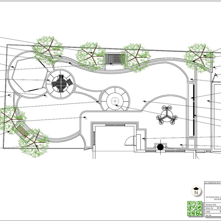 5. Concept Plan-2 for a rear garden in Wakefield, black and white.