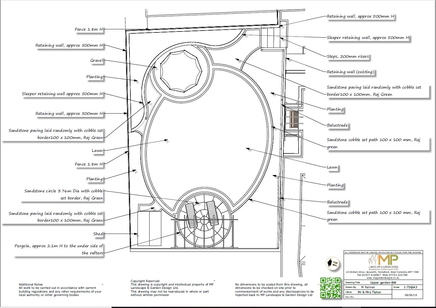 Garden layout plans black and white for a property in Castleford.