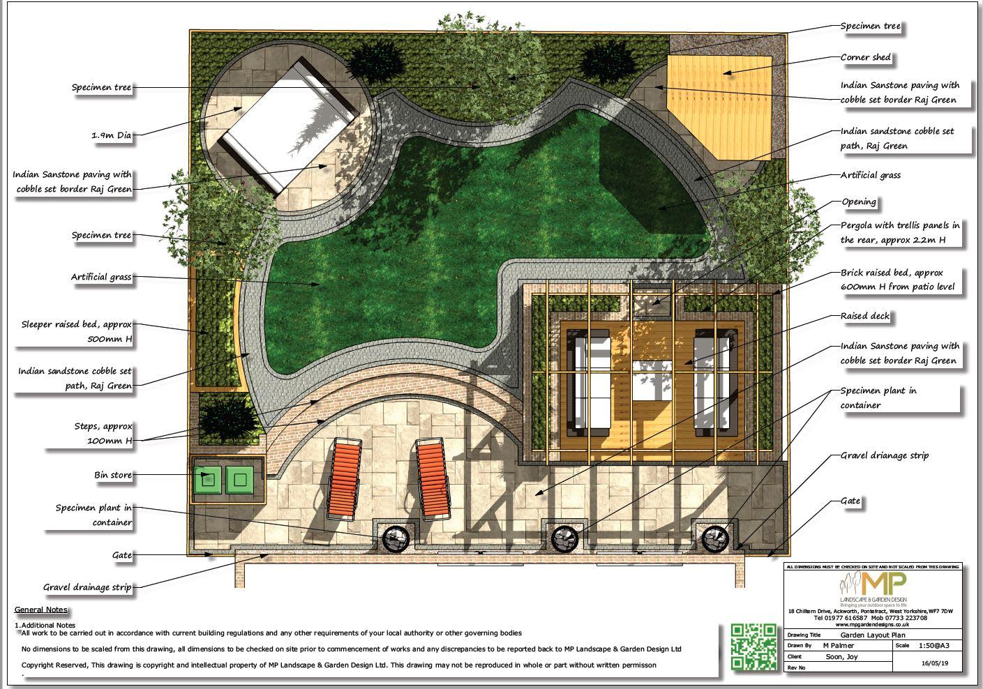 1. Garden design colour plan for a rear garden in Wakefield.