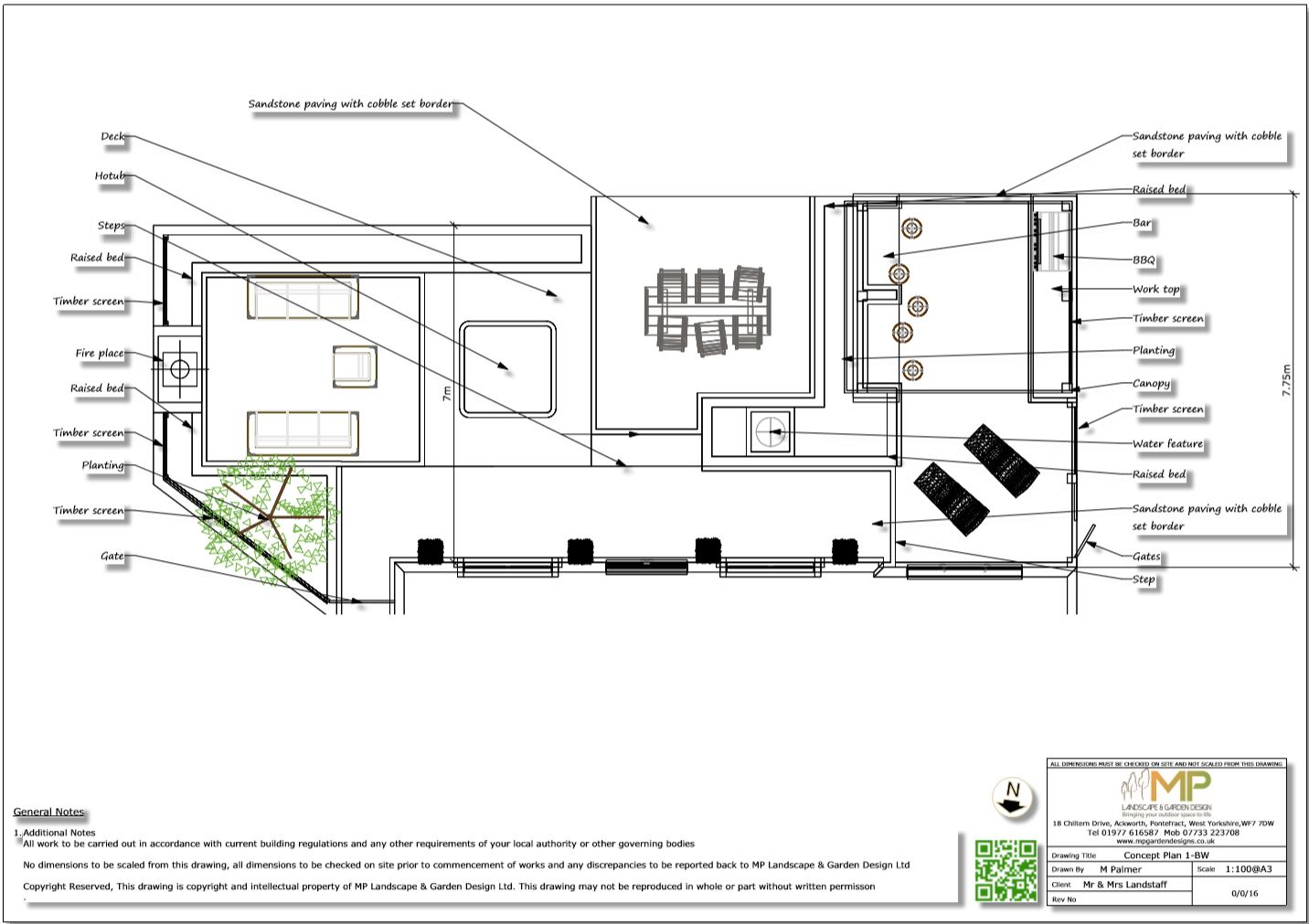 2. Concept plan for a rear patio area in Wakefield