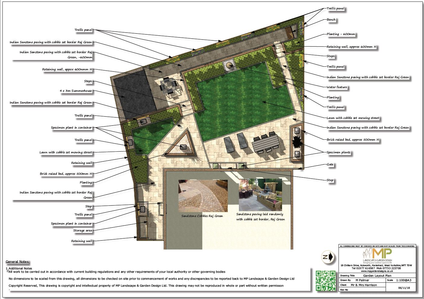 Colour garden design layout plan for a rear garden in Wistow, North Yorshire.
