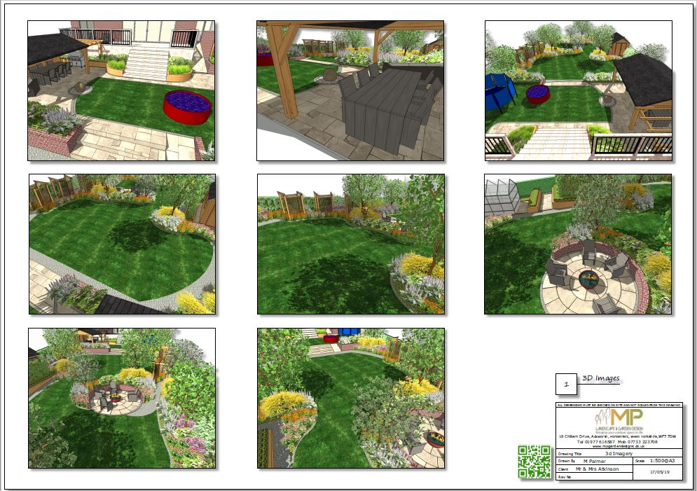 3. Landscape design 3D images black and white for a property in Little Smeaton.
