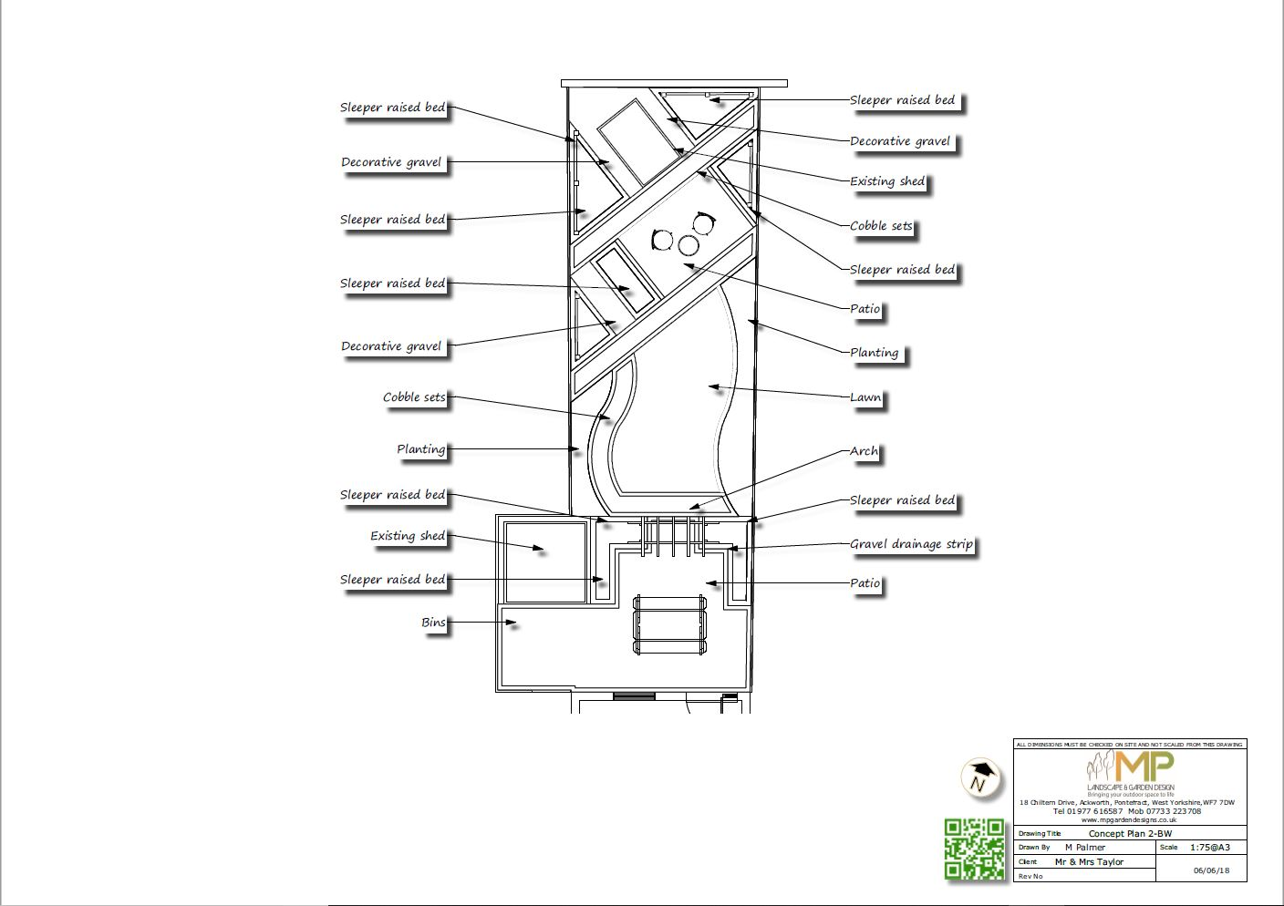 Concept plan-2 black and white for a rear garden in Fitzwilliam.