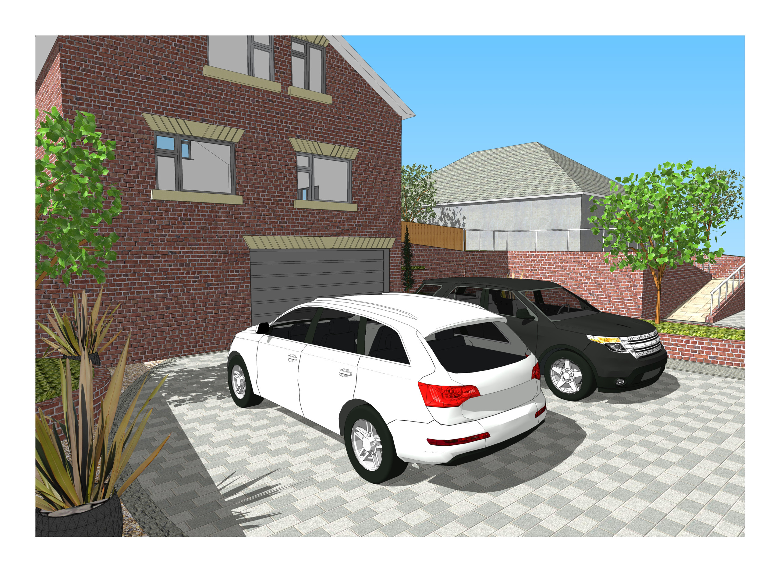 3. 3D images for a new build property in Uton West Yorkshire. Garden designer in Wakefield