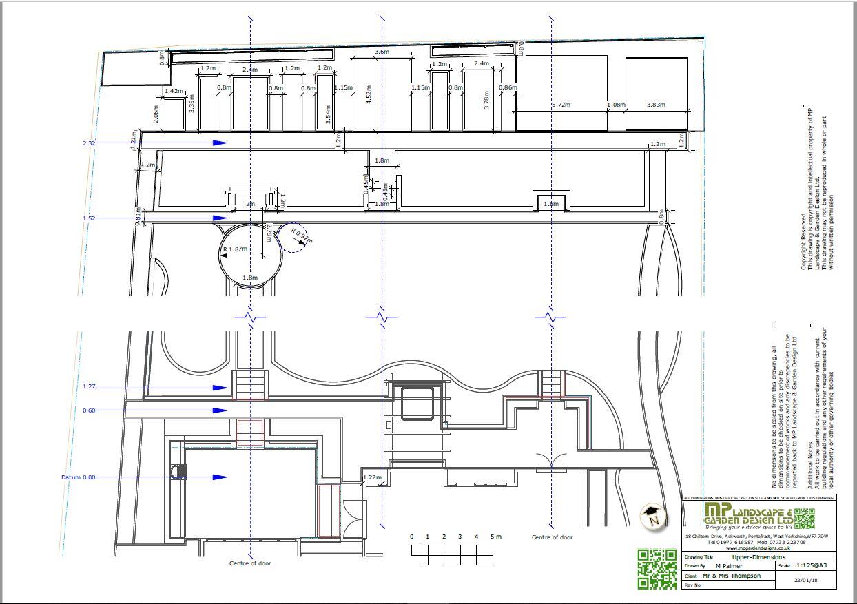 Landscape design dimensions plans for a property in Wentbridge, West Yorkshire