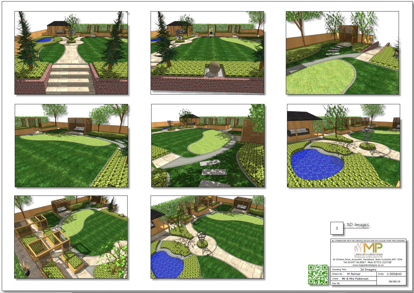 3, Colour 3D imgaes, concept plan 1 for a rear garden in Knottingley