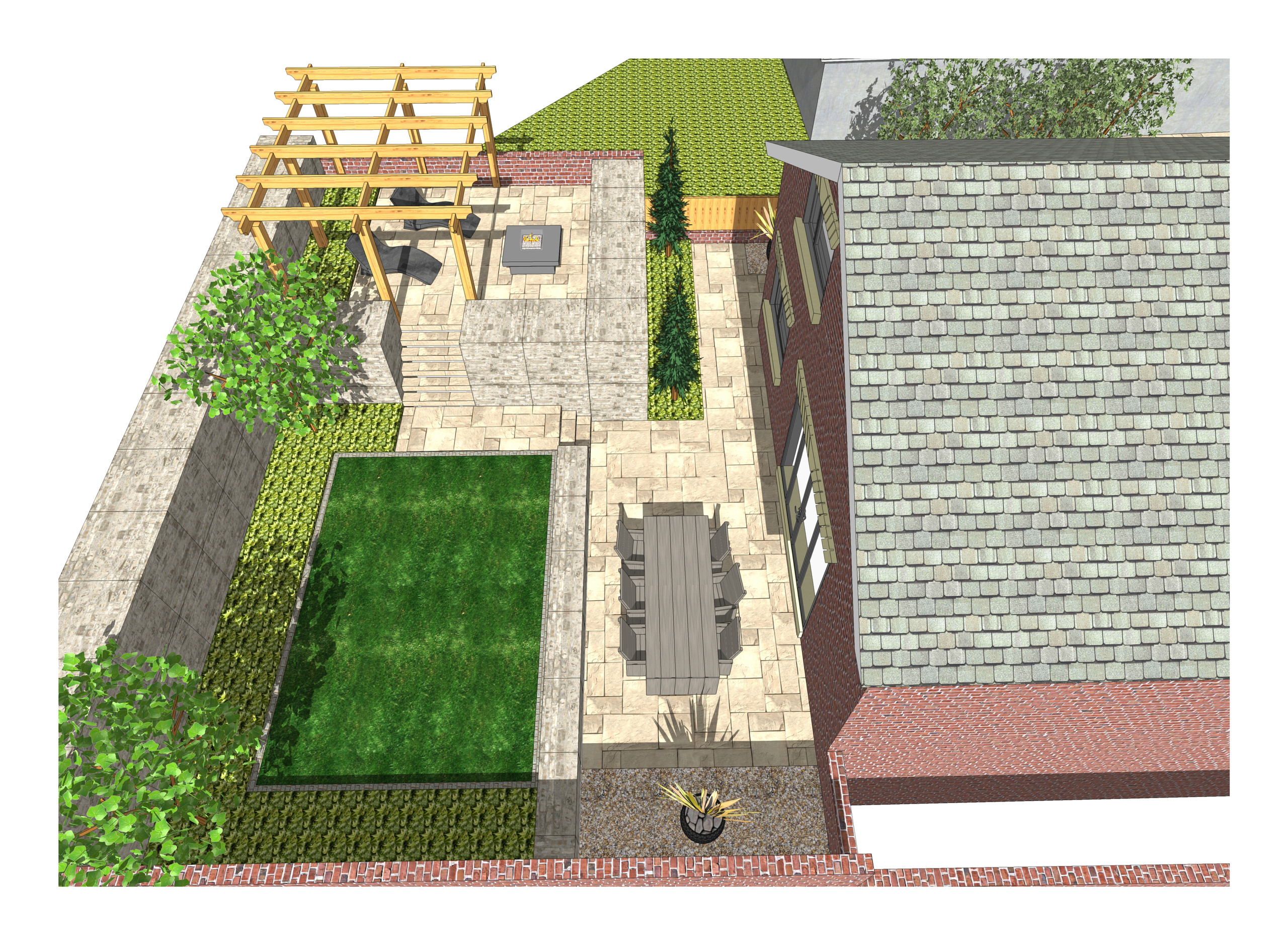7. 3D images for a new build property in Uton West Yorkshire. Garden designer in Wakefield
