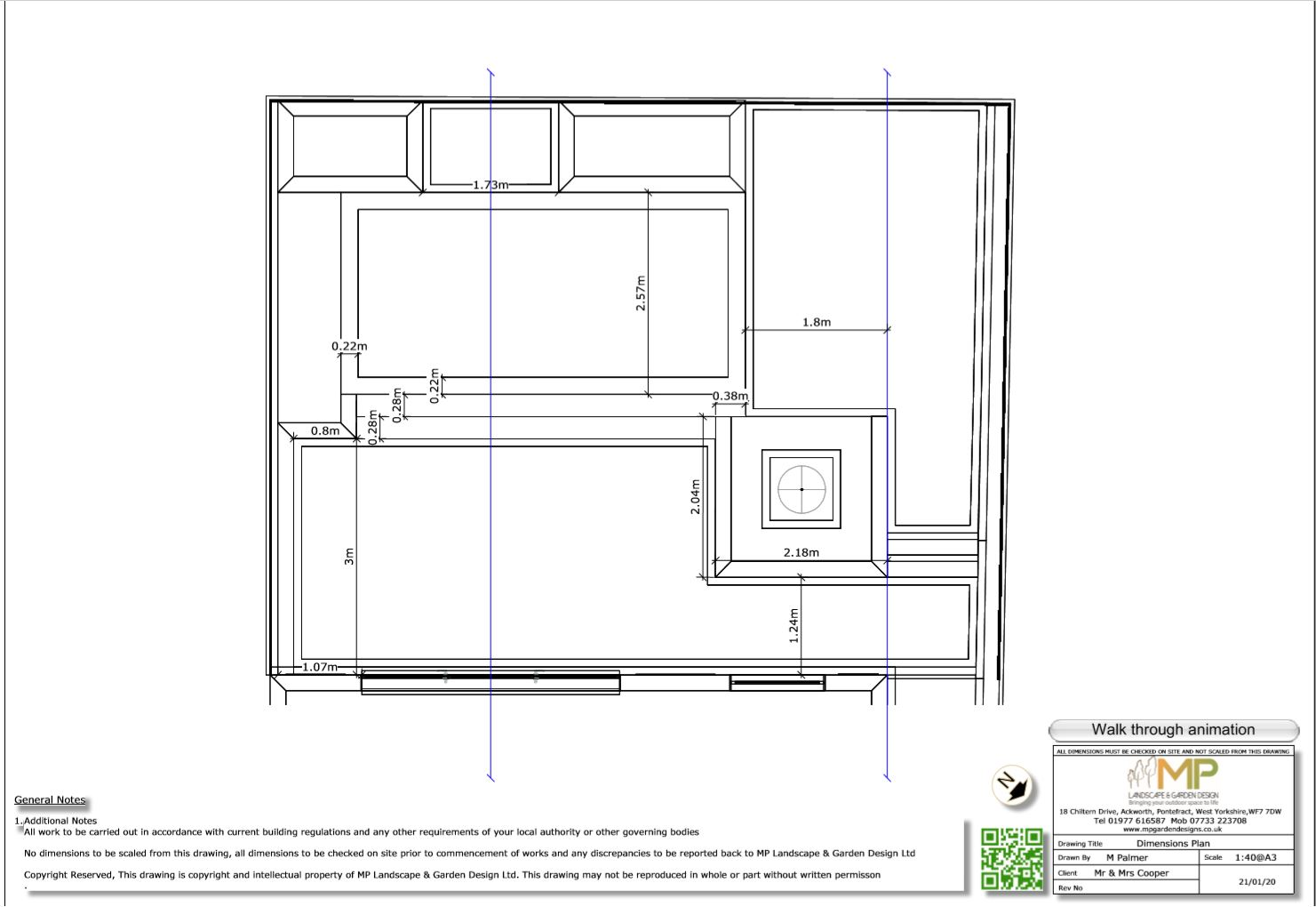 4, Dimensions  plan for a rear garden in Pontefract.