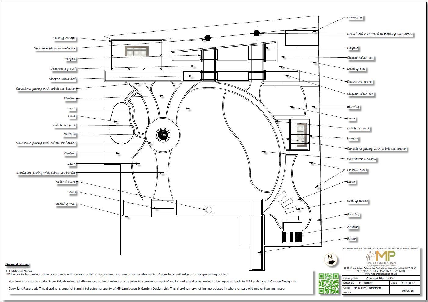 2, Concept plan 1 for a rear garden in Knottingley
