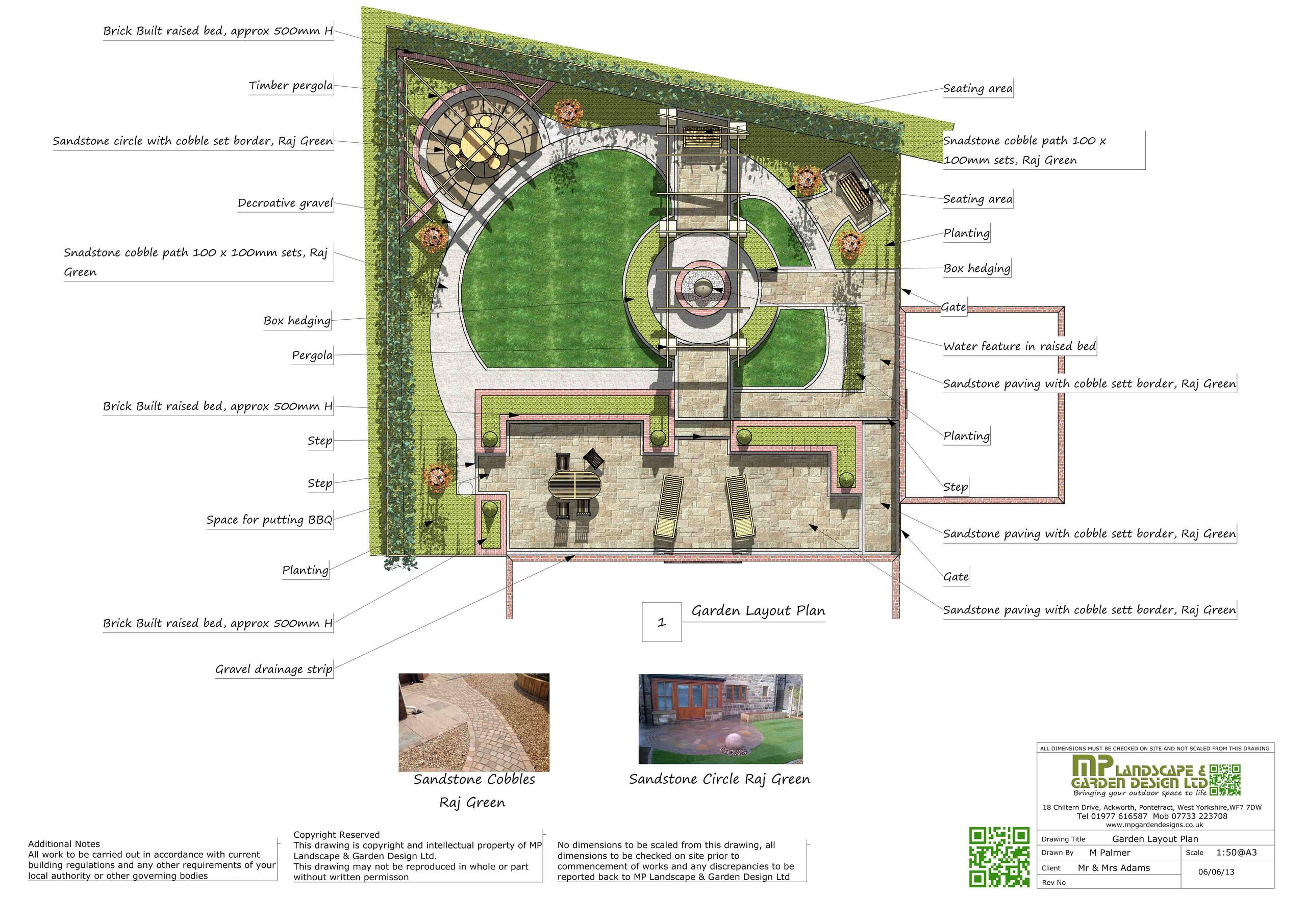 Garden Design layout plans for a garden in Wakefield