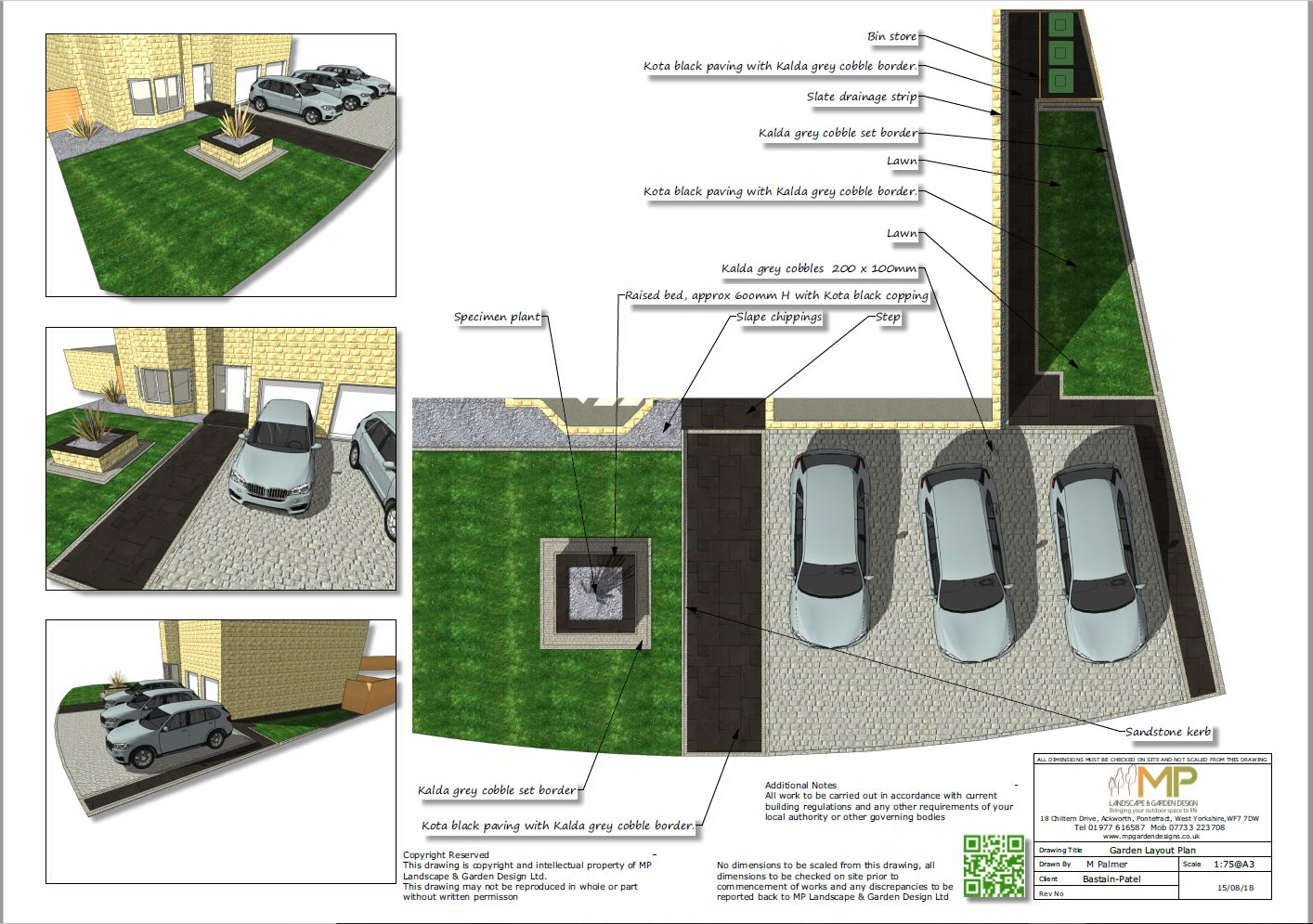 Front garden layout plans for a property in Ackworth, Pontefract.