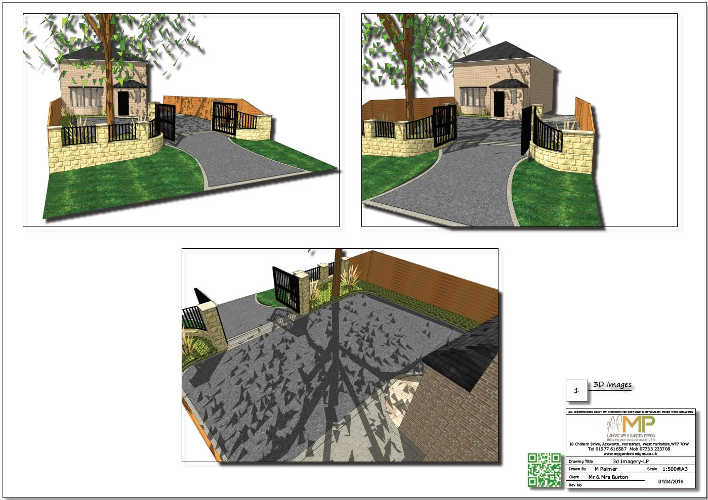 Garden design plans, 3D, Ackworth.