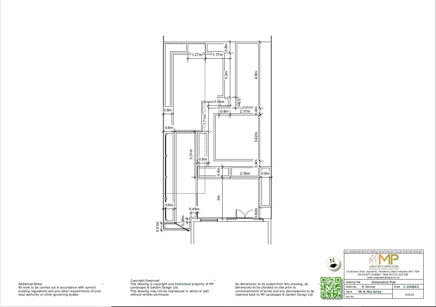 Garden layout dimensions plans for a rear garden in Pontefract, West Yorkshire.