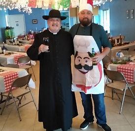 Italian Dinner Wes the chef and Fr Gerar