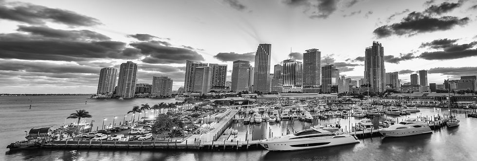 Black and white sunset skyline of Downto