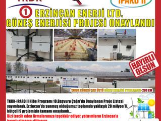 TKDK-IPARD 10.Çağrı döneminde ERZİNCAN ilinde sunmuş olduğumuz 9 projenin tümü onaylandı