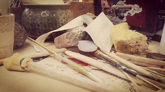 Messy goodness #ceramics #studio #wip #timetoclean