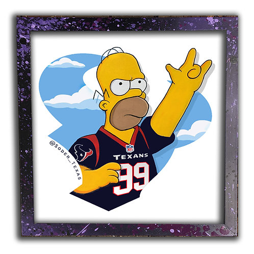 Homer Simpson reps Texans 12 inch Print & Frame