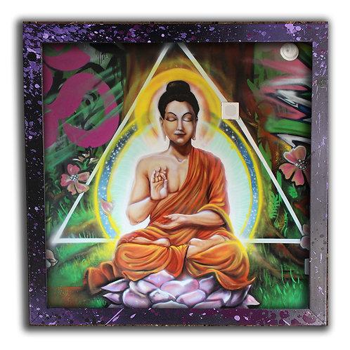 Buddha Mural; 12 inch Print & Frame