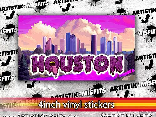 Purple Houston Skyline, 4 inch Sticker