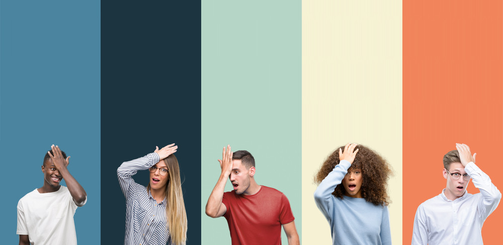 5 people in front of 5 different coloured walls hit their palms to their forehead in a look of realization