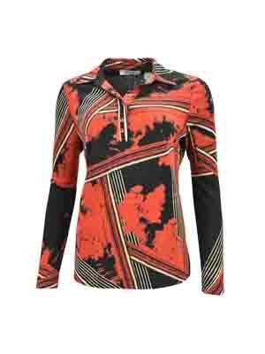 Casa Moda - Polo - Zwart/Rood