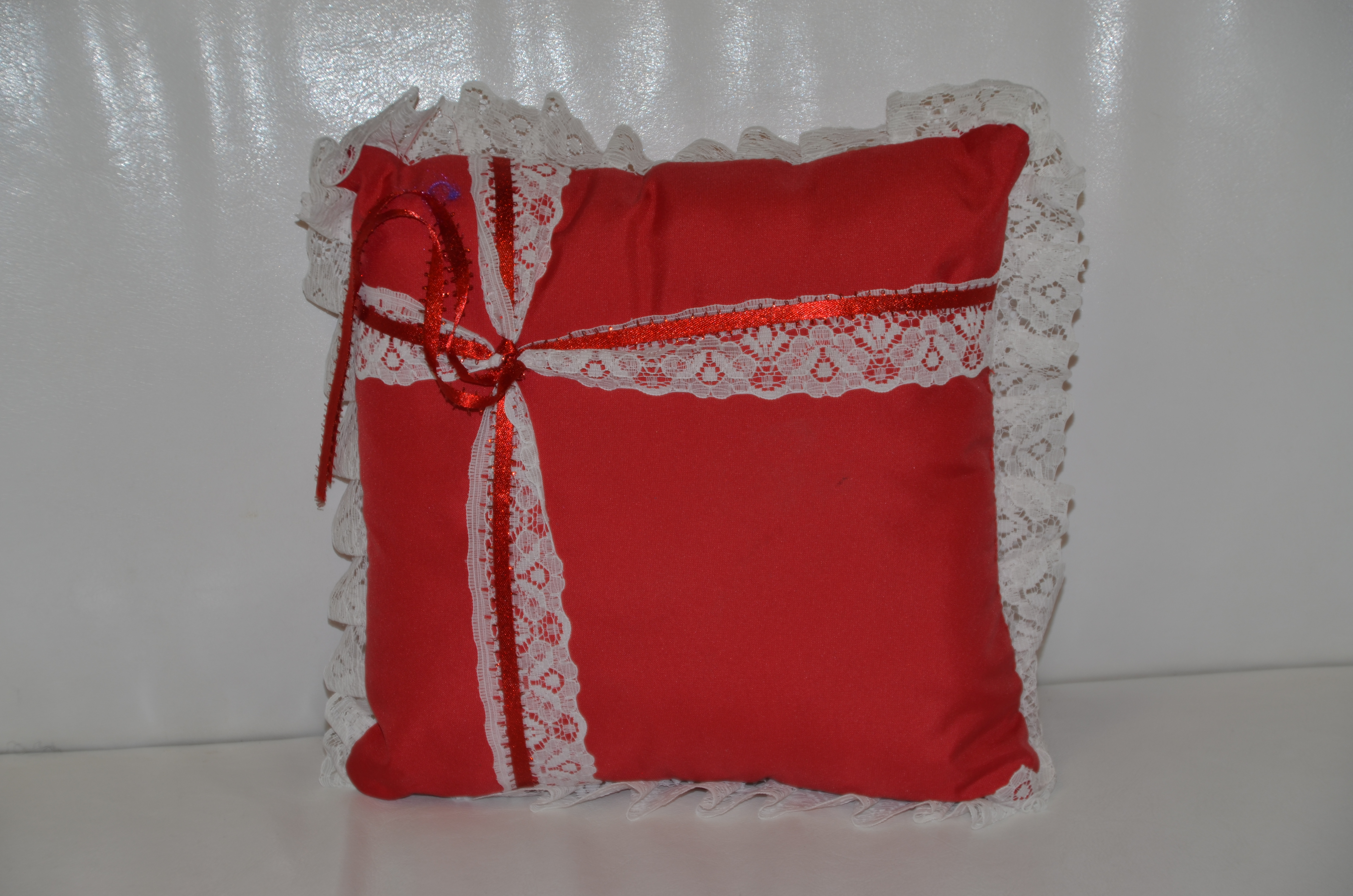 Red and Ivory Ring Cushion
