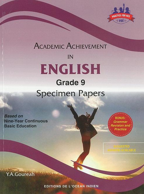Academic Achievement in English Grade 9 Specimen Papers - Y.Goureah