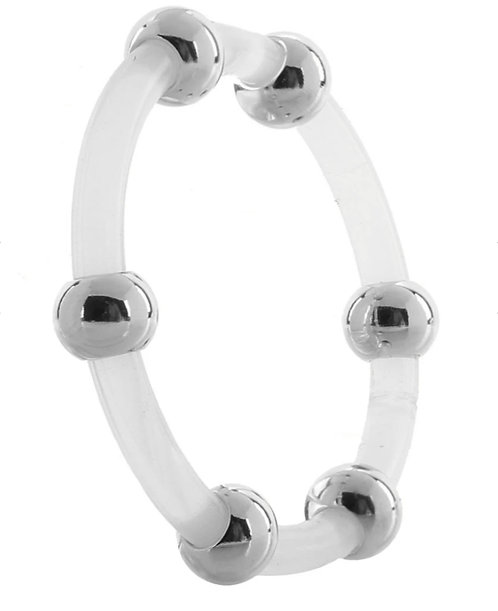 XL Steel Beaded Silicone Ring
