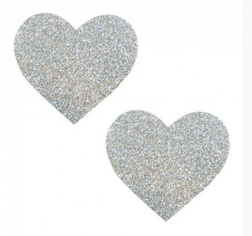 Silver Pixie Dust Glitter Heart Pasties