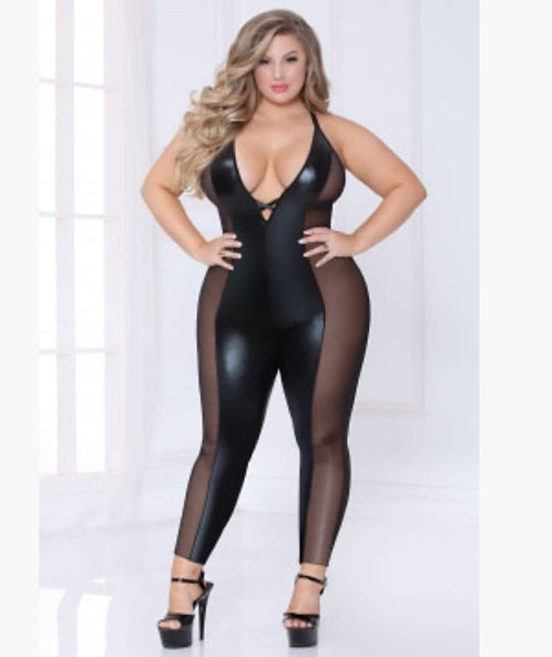 Lame and Mesh Jumpsuit