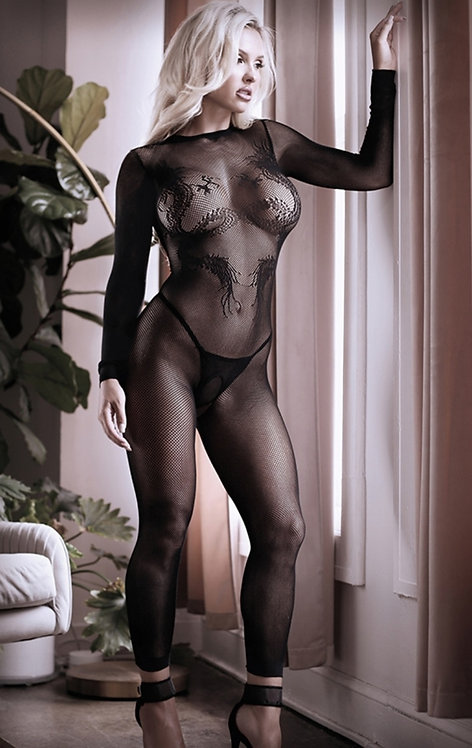 Unleash Me Keyhole Dragon Footless Bodystocking