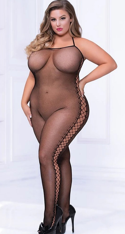 Lace Up Kiss Me Fishnet Bodystocking