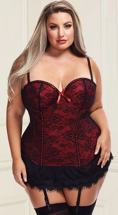 Lace Overlay Bustier and G-String