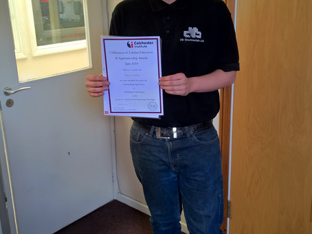 DB Sheetmetals Celebrate Award-winning Apprentice
