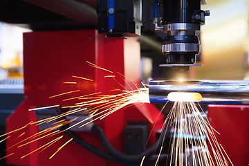 laser cutting close up sparks