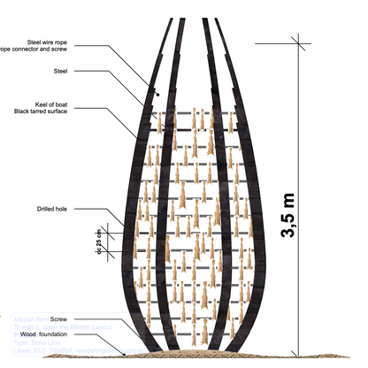 Tegning av tolkning av tørrfiskstativ