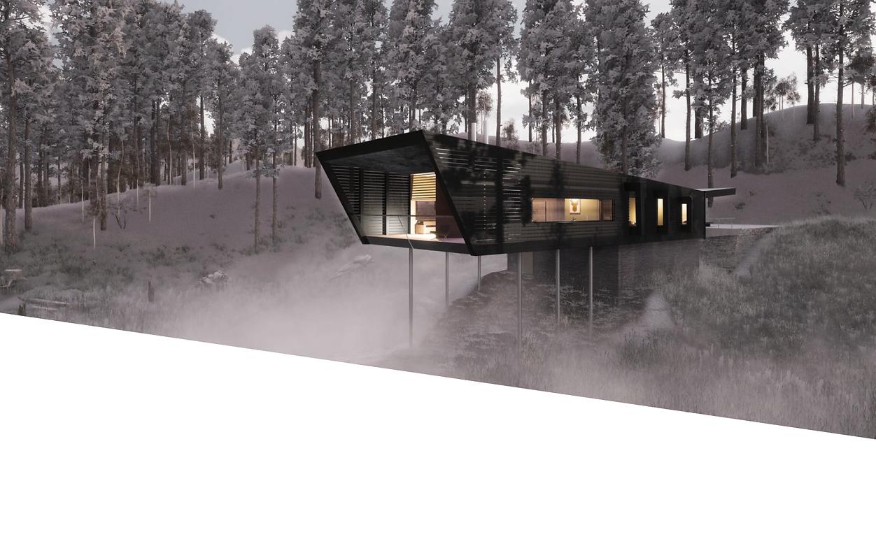 Visualisering av hytte i Hemavan