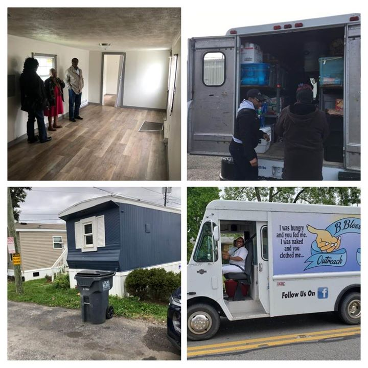 picture collage of inside & outside of home w/ volunteers