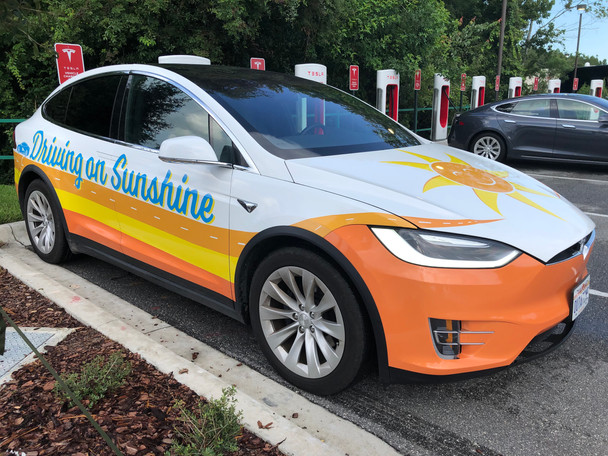 Driving on Sunshine Tesla Model X